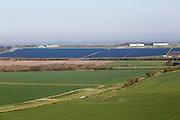 Wroughton airfield solar park renewable energy production solar farm, Wroughton, Wiltshire, England, UK