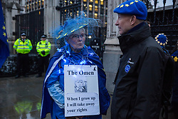 London, UK. 30 January, 2020. Pro-EU activists from SODEM (Stand of Defiance European Movement) attend a party outside Parliament on the eve of Brexit Day on the theme of 'Party like there's no tomorrow'.