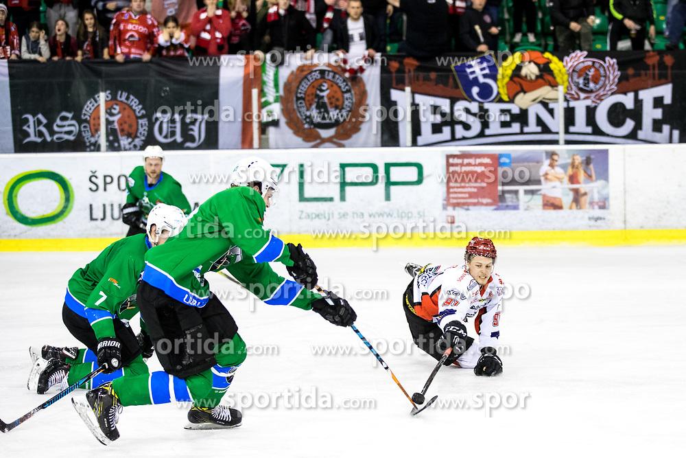 Tadej Cimzar of Jesenice during ice hockey match between HK SZ Olimpija vs HDD SIJ Acroni Jesenice in Final of Slovenian League 2017/18, on April 10, 2018 in Hala Tivoli, Ljubljana, Slovenia. Photo by Matic Klansek Velej / Sportida