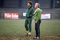 Martin O'Neill, footballer, Manchester City & N Ireland, with manager Billy Bingham, at a training session in St Albans prior to their match against England at Wembley. 19820223014MON+BB<br />