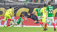Goalkeeper Dani Hernandez of Venezuela, center, fails to stop a strike on target by Mexico's Jesus Manual Corona, second from the left, during the second half of a group stage match for the Copa America Centenario at NRG Stadium in Houston,Texas, on Monday June 13, 2016. The goal would tie the game and give Mexico the first place of the group over Venezuela due to goal differential.