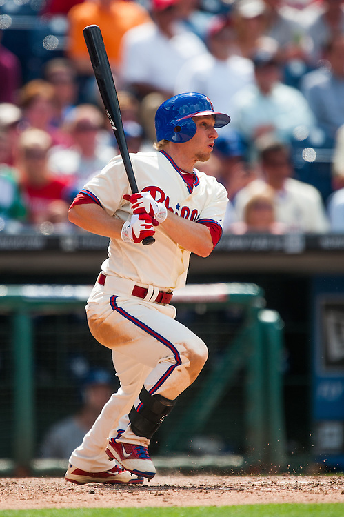 PHILADELPHIA, PA - JUNE 07: Mike Fontenot #18 of the Philadelphia Phillies bats during the game against the Los Angeles Dodgers at Citizens Bank Park on June 7, 2012 in Philadelphia, Pennsylvania. (Photo by Rob Tringali) *** Local Caption *** Mike Fontenot