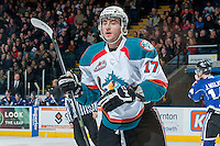 KELOWNA, CANADA -FEBRUARY 8: Marek Tvrdon #17 of the Kelowna Rockets skates against the Victoria Royals on February 8, 2014 at Prospera Place in Kelowna, British Columbia, Canada.   (Photo by Marissa Baecker/Getty Images)  *** Local Caption *** Marek Tvrdon;