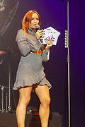 Arielle Free introduces the acts onto the stage in front of 10000 fans from Girl Guiding UK during the Girl Guiding Scotland Tartan Gig at SSE Hydro, Glasgow, Scotland on 31 August 2019. Picture by Colin Poultney.