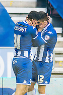 Alex Revell (right) of Wigan Athletic is congratulated by Yanic Wildschut after scoring the first goal during the Sky Bet League 1 match at the DW Stadium, Wigan<br /> Picture by Matt Wilkinson/Focus Images Ltd 07814 960751<br /> 21/11/2015