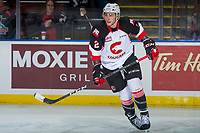 KELOWNA, CANADA - OCTOBER 28: Cole Moberg #2 of the Prince George Cougars warms up against the Kelowna Rockets on October 28, 2017 at Prospera Place in Kelowna, British Columbia, Canada.  (Photo by Marissa Baecker/Shoot the Breeze)  *** Local Caption ***