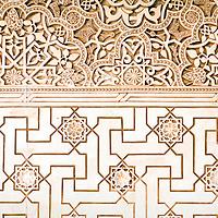 Geometric pattern on a wall of Alhambra palace, Granada, Spain