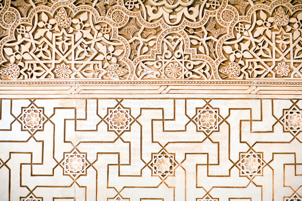 Geometric pattern on a wall of Alhambra palace, Granada, Spain