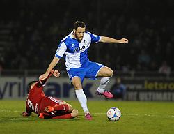 Bristol Rovers' Tom Parkes is challenged by Aldershot Town's Brett Williams - Photo mandatory by-line: Neil Brookman/JMP - Mobile: 07966 386802 - 20/03/2015 - SPORT - Football - England - Memorial Stadium - Bristol Rovers v Aldershot - Vanarama Football Conference