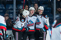 KELOWNA, BC - FEBRUARY 12: Conner McDonald #7, Jonas Peterek #27 and Dillon Hamaliuk #22 of the Kelowna Rockets celebrate a goal against the Tri-City Americans at Prospera Place on February 8, 2020 in Kelowna, Canada. (Photo by Marissa Baecker/Shoot the Breeze)