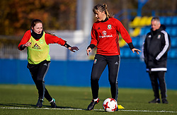 SAINT PETERSBURG, RUSSIA - Monday, October 23, 2017: Wales' Gemma Evans during a training session at the Petrovsky Minor Sport Arena ahead of the FIFA Women's World Cup 2019 Qualifying Group 1 match between Russia and Wales. (Pic by David Rawcliffe/Propaganda)