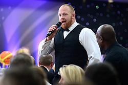 Ross McMillan sings during the Bristol Sport annual Gala Dinner at Ashton Gate Stadium - Mandatory by-line: Dougie Allward/JMP - 14/12/2017 - Sport - Ashton Gate - Bristol, England - Bristol Sport Gala Dinner