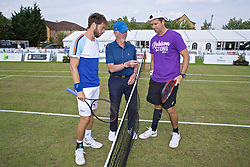 LIVERPOOL, ENGLAND - Sunday, June 23, 2019: The Umpire conducts a pre-match coin toss with Paulo Lorenzi (ITA) (L) and Robert Kendrick (USA) (R) during the Men's Final on Day Four of the Liverpool International Tennis Tournament 2019 at the Liverpool Cricket Club. (Pic by David Rawcliffe/Propaganda)