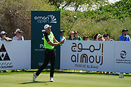 Haotong Li (CHN) on the 3rd during Round 2 of the Oman Open 2020 at the Al Mouj Golf Club, Muscat, Oman . 28/02/2020<br /> Picture: Golffile | Thos Caffrey<br /> <br /> <br /> All photo usage must carry mandatory copyright credit (© Golffile | Thos Caffrey)