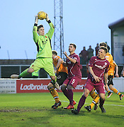 Annan keeper Jordon Hart clutches a cross - Arbroath v Annan Athletic, Ladbrokes SPFL League two at Gayfield<br /> <br />  - &copy; David Young - www.davidyoungphoto.co.uk - email: davidyoungphoto@gmail.com