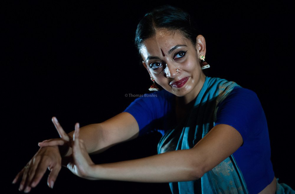 London, UK. 25th September 2014. Seeta Patel performs Something Then, Something Now at the Lilian Baylis Studio, Sadlers Wells, an intimate evening of dance and music from South India.<br /> <br /> &copy; Thomas Bowles