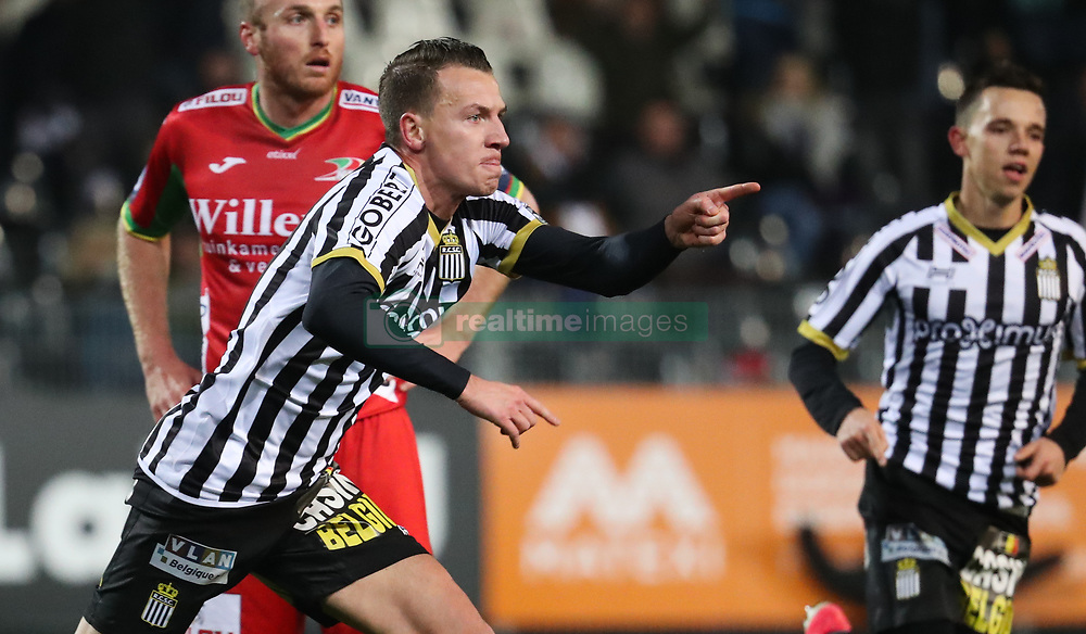 December 1, 2017 - Charleroi, BELGIUM - Charleroi's Clement Tainmont celebrates after scoring during the Jupiler Pro League match between Sporting Charleroi and KV Oostende, in Charleroi, Friday 01 December 2017, on the day 17 of the Jupiler Pro League, the Belgian soccer championship season 2017-2018. BELGA PHOTO VIRGINIE LEFOUR (Credit Image: © Virginie Lefour/Belga via ZUMA Press)