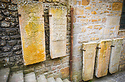 Stone tablets, Mont Saint-Michel, Normandy, France