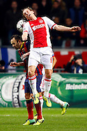Onderwerp/Subject: Ajax - FC Barcelona - Champions League<br /> Reklame:  <br /> Club/Team/Country: <br /> Seizoen/Season: 2013/2014<br /> FOTO/PHOTO: Christian POULSEN ( Christian Bjornshoj POULSEN ) (UP) of Ajax in duel with INIESTA ( Andres Iniesta LUJAN ) (DOWN) of FC Barcelona. (Photo by PICS UNITED)<br /> <br /> Trefwoorden/Keywords: <br /> #04 $94 &plusmn;1377840750319<br /> Photo- &amp; Copyrights &copy; PICS UNITED <br /> P.O. Box 7164 - 5605 BE  EINDHOVEN (THE NETHERLANDS) <br /> Phone +31 (0)40 296 28 00 <br /> Fax +31 (0) 40 248 47 43 <br /> http://www.pics-united.com <br /> e-mail : sales@pics-united.com (If you would like to raise any issues regarding any aspects of products / service of PICS UNITED) or <br /> e-mail : sales@pics-united.com   <br /> <br /> ATTENTIE: <br /> Publicatie ook bij aanbieding door derden is slechts toegestaan na verkregen toestemming van Pics United. <br /> VOLLEDIGE NAAMSVERMELDING IS VERPLICHT! (&copy; PICS UNITED/Naam Fotograaf, zie veld 4 van de bestandsinfo 'credits') <br /> ATTENTION:  <br /> &copy; Pics United. Reproduction/publication of this photo by any parties is only permitted after authorisation is sought and obtained from  PICS UNITED- THE NETHERLANDS