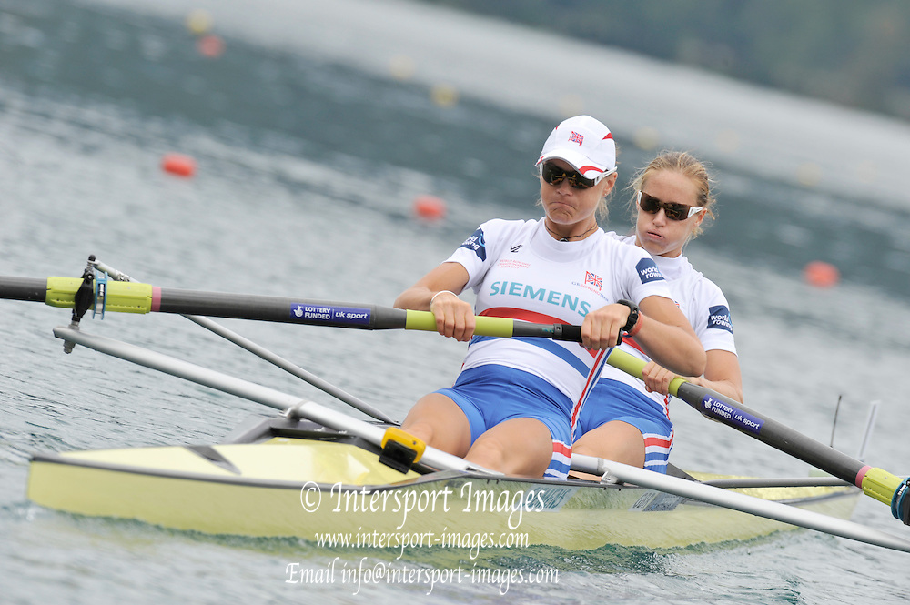 Bled, SLOVENIA. GBR W2-. Bow Helen GLOVER and Heather STANNING. start. Heats, First Day.  2011 FISA World Rowing Championships, Lake Bled. Sunday  28/08/2011  [Mandatory Credit; Peter Spurrier/ Intersport Images]   Adaptive.
