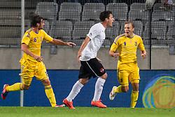 01.06.2012, Tivoli, Innsbruck, AUT, UEFA EURO 2012, Testspiel, Oesterreich vs Ukraine, im Bild Torjubel Ukraine nach einem Tor von Oleg Gusev, (UKR, # 09), Zlatko Junuzovic, (AUT, #10) reklamiert Abseits // Goal Celebration Ukraine after a goal from Oleg Gusev, (UKR, # 09) during Preparation Game for the UEFA Euro 2012 betweeen Austria and Ukraine at the at the Tivoli Stadium, Innsbruck, Austria on 2012/06/01. EXPA Pictures © 2012, PhotoCredit: EXPA/ Juergen Feichter