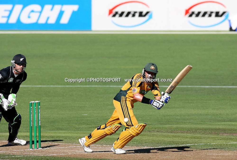 Mike Hussey plays a shot.  New Zealand Black Caps v Australia. 1st ODI, Chappell-Hadlee Trophy Series. McLean Park, Napier. Wednesday 03 March 2010  Photo: John Cowpland/PHOTOSPORT