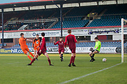 St Johns' Lewis Neilson scores the first of his four goals -  St.John's v Harris in the U15 Senior Sports Cup Final (sponsored by DSA) at Dens Park, Dundee<br /> <br /> <br />  - &copy; David Young - www.davidyoungphoto.co.uk - email: davidyoungphoto@gmail.com
