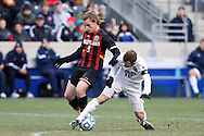 15 December 2013: Notre Dame's Harrison Shipp (10) and Maryland's Alex Shinsky (9). The University of Maryland Terripans played the University of Notre Dame Fighting Irish at PPL Park in Chester, Pennsylvania in a 2013 NCAA Division I Men's College Cup championship match. Notre Dame won the game 2-1.