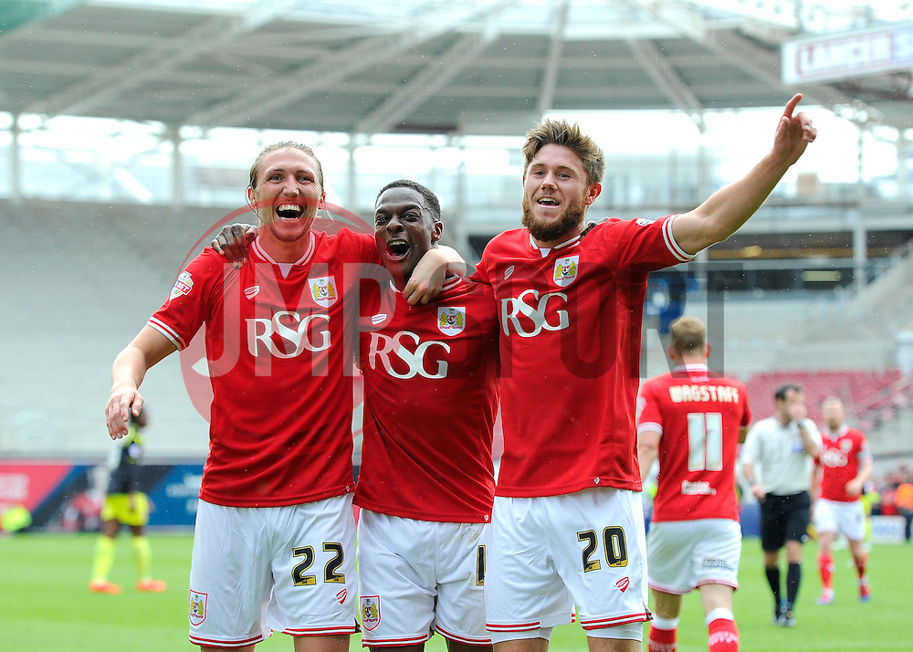 Bristol City's Kieran Agard celebrates his second goal of the game with Bristol City's Luke Ayling and Bristol City's Wes Burns  - Photo mandatory by-line: Joe Meredith/JMP - Mobile: 07966 386802 - 03/05/2015 - SPORT - Football - Bristol - Ashton Gate - Bristol City v Walsall - Sky Bet League One