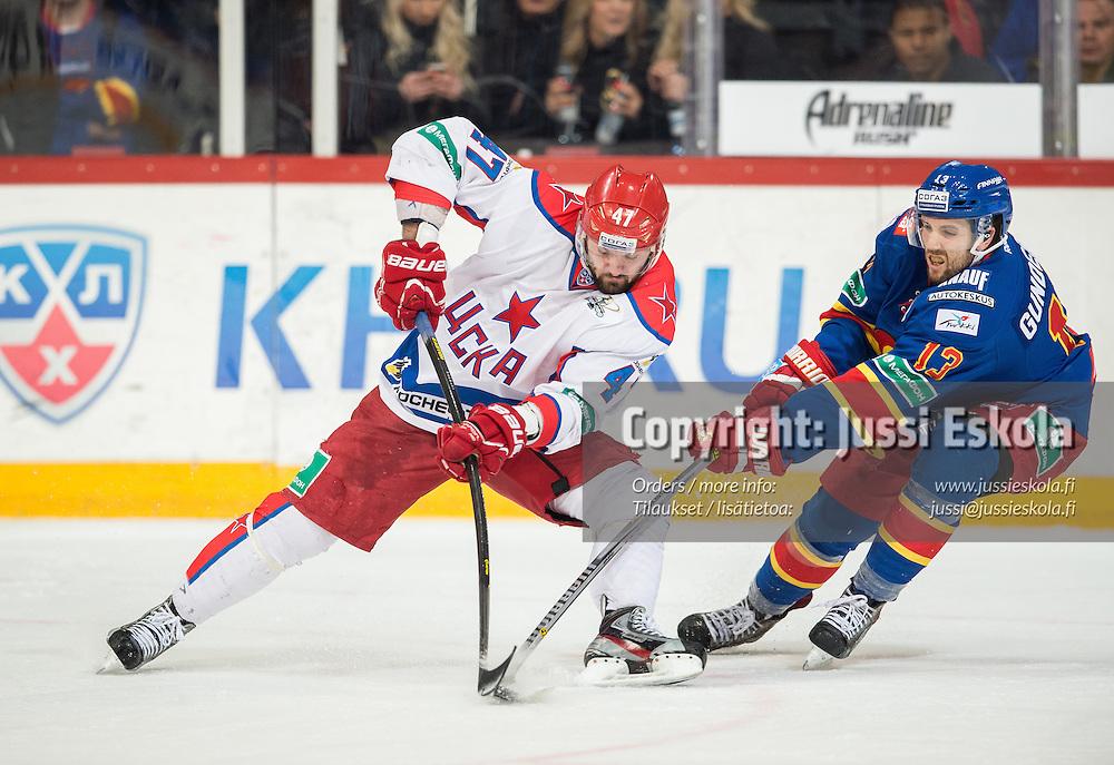 Alexander Radulov, Ryan Gunderson. Jokerit - Tsska Moskova. KHL. 16.3.2015. Photo: Jussi Eskola