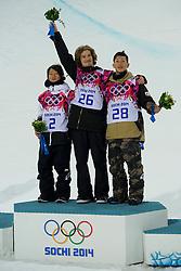 11.02.2014, Rosa Khutor Extreme Park, Krasnaya Polyana, RUS, Sochi, 2014, im Bild Siegerehrung, Podium mit Ayumu Hirano (JPN), Iouri Podladtchikov (SUI), Taku Hiraoka (JPN) // during Snowboard Halfpipe Competition of the Olympic Winter Games Sochi 2014 at the Rosa Khutor Extreme Park in Krasnaya Polyana, Russia on 2014/02/11. EXPA Pictures © 2014, PhotoCredit: EXPA/ Freshfocus/ Urs Lindt<br /> <br /> *****ATTENTION - for AUT, SLO, CRO, SRB, BIH, MAZ only*****
