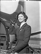 27/11/1957.11/27/1957.27 November 1957.Air Hostess Miss Denise O'Brien with Viscount plane, special for Aer Lingus..
