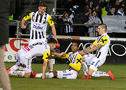 22.02.2019, TGW Arena, Pasching, AUT, 1. FBL, LASK vs FK Austria Wien, 19. Runde, im Bild v.l. Peter Michorl (LASK), James Holland (LASK), Joao Victor Santos Sa (LASK), Dominik Frieser (LASK) feiern das 2 zu 0 // during the tipico Bundesliga 19th round match between LASK and FK Austria Wien at the TGW Arena in Pasching, Austria on 2019/02/22. EXPA Pictures © 2019, PhotoCredit: EXPA/ Reinhard Eisenbauer