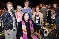 Service of the Living Tradition Suzanne Fast, (prelim fellowship), in foreground, with friends. ©NancyPierce/UUA