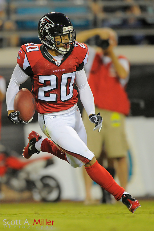 Atlanta Falcons cornerback Brent Grimes (20) during the Falcons game against the Jacksonville Jaguars at EverBank Field on Aug. 19, 2011 in Jacksonville, Fla...©2011 Scott A. Miller