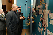 John Starks with Claude Johnson viewing the Black Fives exhibition at the New-York Historical Society on March 18, 2014