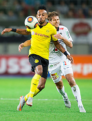 Pierre-Emerick Aubameyang of Borussia Dortmund vs Boris Hüttenbrenner of WAC during football match between WAC Wolfsberg (AUT) and  Borussia Dortmund (GER) in First leg of Third qualifying round of UEFA Europa League 2015/16, on July 30, 2015 in Wörthersee Stadion, Klagenfurt, Austria. Photo by Vid Ponikvar / Sportida