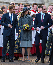 © Licensed to London News Pictures. 14/03/2016. London, UK. PRINCE HARRY, CATHERINE, Duchess of Cambridge and PRINCE WILLIAM leave Westminster Abbey in London after attending a service to mark Commonwealth Day 2016.  Photo credit: Ben Cawthra/LNP