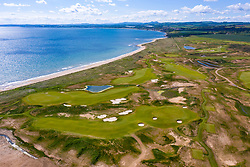 Aerial view of new Dumbarnie Links golf course on Firth of Forth in Fife. The new golf course was scheduled to open on May 16 but  date was cancelled due to the Covid-19 lockdown