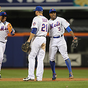 Juan Lagares, Curtis Granderson, (right) and Lucas Duda, New York Mets, celebrate their sides win during the New York Mets Vs Washington Nationals. MLB regular season baseball game at Citi Field, Queens, New York. USA. 1st August 2015. (Tim Clayton for New York Daily News)