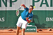 Milos Raonic (CAN) during the mens singles second round of the Roland Garros Tennis Open 2017 at Roland Garros Stadium, Paris, France on 31 May 2017. Photo by Jon Bromley.