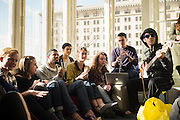 SAN FRANCISCO, CA – JANUARY 13, 2016: Minerva college students Minerva students enjoy music in the San Francisco residence hall.<br /> <br /> Minerva is a unique 21st century university built on a global four-year education model. It is deliberately designed to enhance intellectual growth and prepare students for success in today's rapidly changing global context. Founded in 2014, the university targets the developing world's rising middle class who seek an elite American education. With a 2.8% acceptance rate among the founding class, Minerva is the most selective undergraduate program in U.S. history.