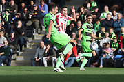 Farrend Rawson and Kevin Dawson during the EFL Sky Bet League 2 match between Forest Green Rovers and Cheltenham Town at the New Lawn, Forest Green, United Kingdom on 20 October 2018.