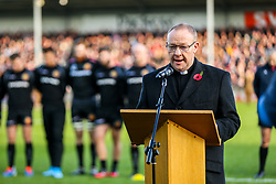 Chaplain during the act of Remembrance before kick off - Rogan/JMP - 10/11/2019 - RUGBY UNION - Sandy Park - Exeter, England - Exeter Chiefs v Bristol Bears - Gallagher Premiership.