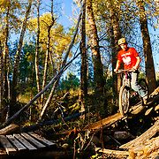 Abraham Jindrich gets ready to crash in the woods of Missoula, Montana.