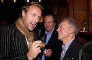 Simon Mills, William Boyd and Nicholas Grace, Hot Ice party hosted by Dominique Heriard Dubreuil and Theo Fennell, ( Remy Martin and theo Fennell) at 35 Belgrave Sq. London W1. 26 October 2004. ONE TIME USE ONLY - DO NOT ARCHIVE  © Copyright Photograph by Dafydd Jones 66 Stockwell Park Rd. London SW9 0DA Tel 020 7733 0108 www.dafjones.com