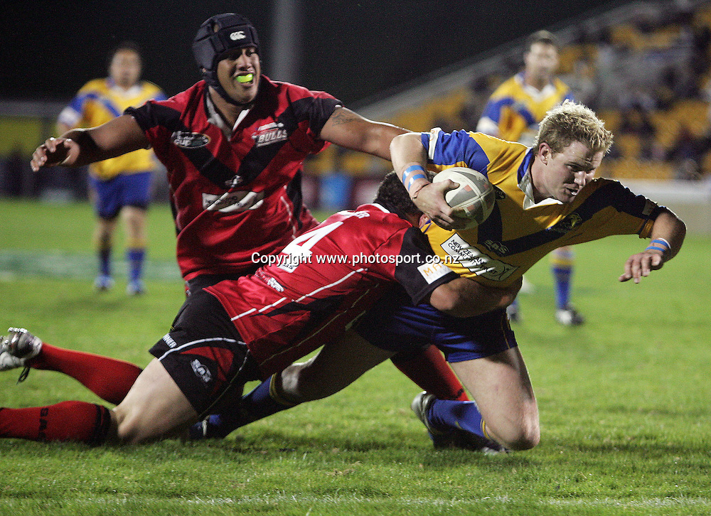 Regan Wigg stretches out towards the line during the Bartercard Cup Final rugby league match between the Mt. Albert Lions and the Canterbury Bulls at Mt. Smart Stadium, Auckland, New Zealand on Monday 18 September, 2006. Photo: Hannah Johnston/PHOTOSPORT<br />
