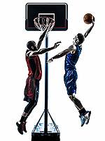 two men basketball players competition jumping dunking in silhouette isolated white background