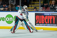 KELOWNA, CANADA - FEBRUARY 12:  James Porter #1 of the Kelowna Rockets clears the puck out of the defensive zone against the Victoria Royals on February 12, 2018 at Prospera Place in Kelowna, British Columbia, Canada.  (Photo by Marissa Baecker/Shoot the Breeze)  *** Local Caption ***