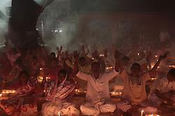 November 2, 2018 - Narayangonj, Bangladesh - Hindu devotees react as they sit together on the floor of a temple to observe Rakher Upabash in Narayangonj near Dhaka. (Credit Image: © Kazi Salahuddin Razu/NurPhoto via ZUMA Press)